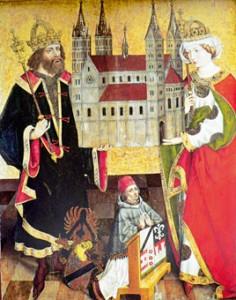 König Heinrich II. und seine Frau Kunigunde treten in zahlreichen Abbildungen als Stifter des Bamberger Doms in Erscheinung, hier Hertnid Altar, St. Lorenzkirche Hof (Saale).