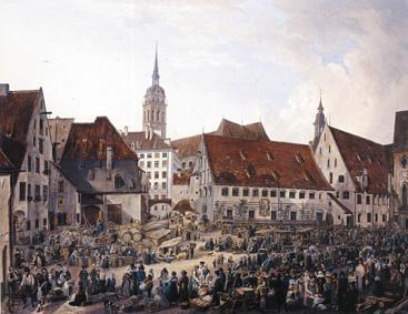 Brauerrei des Heiligenspitals. Auschnitt aus einem Gemälde von Domenico Quaglio, 1824. (Münchner Stadtmuseum)
