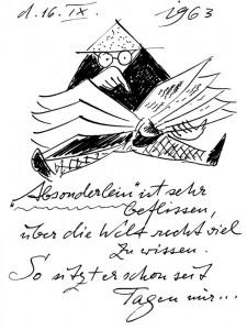 """Wissbegierig, kritisch und belesen wie sein Schöpfer: Das """"Absonderlein"""" studiert den """"Fahrplan der Kultur""""."""
