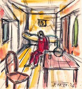 Das fragende Selbstbildnis ist ein wiederkehrendes Thema im Werk von Helmut Ammann: Auf einer Studienreise nach Frankreich zeichnete er sich im roten Anzug in seinem Zimmer.