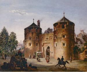 """Das Richtung Thalkirchen weisende Angertor (hier 1856 in einem Gemälde von Franz Stegmann) wurde als """"porta in prato"""" 1319 erstmals erwähnt. Nach dem Bau der Befestigungsanlagen im 17. Jahrhundert hatte es bereits seine Funktion als Stadttor verloren, 1869 wurde es abgerissen. (Bild: Münchner Stadtmuseum)"""