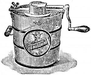 Eine Eismaschine aus einem alten Prospekt der Firma Alexanderwerk: Rühren war für Speiseeis das A und O.