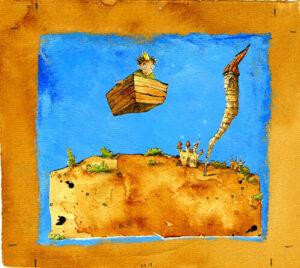 Kein Turmzimmer ist zu hoch für den Prinzen auf seinem fliegenden Kästchen (Illustration: Peter Engel).