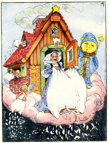 Frau Holle, neben der Schiachen Luz eine dunkle Frauengestalt der finsteren Winternächte, fand Eingang in die Märchenwelt