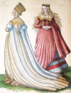 1577 verlegte der Stecher Hans Weigel ein reich illustriertes Trachtenbuch, in dem verschiedene europäische Frauentrachten beschrieben werden. Die Nürnberger Braut trägt ein cremefarbenes Kleid, das mit weißem Pelz besetzt ist. Es handelt sich um ein sehr frühes Beispiel für ein weißes Brautkleid. (Bild: Antiquariat Dasa Pahor)