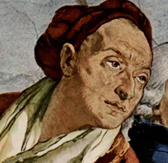 Giovanni Battista Tiepolo hat sich auf dem Deckenfresko im Treppenhaus der Würzburger Residenz auch selbst verewigt.
