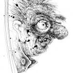 """Der gefährliche Rausch: Der Maunzinger-Feschl kann sich bis heute nicht erklären, warum ihm seine Gattin daheim den """"Leberkäs"""" ins Gesicht geschmissen hat und dass der gestunken hat wie ein Misthaufen … (Illustration: Peter Engel)"""