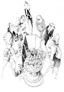 Was passiert in Grafs Texten, wenn der Mensch ganz Körper, ganz ungebremster, begieriger Genuss wird? Er scheidet beim Vertilgen des sage und schreibe neununddreißigsten Leberknödels als Held aus der Welt, wie der Imsinger-Girgl (Illustration: Peter Engel).