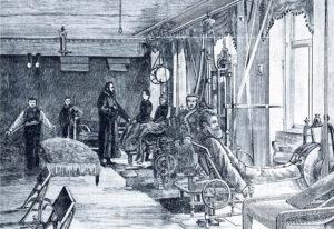 """Das """"Fitness-Studio"""" war 1891 bereits erfunden: Im Gymnastiksaal der Heil- und Kuranstalt Bad Brunnthal wurde an Geräten trainiert."""