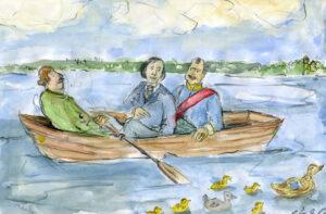 Rosemarie Zacher hat die Märchenstunde von Maximilian II. und dem Dichter Hans Christian Andersen gezeichnet.