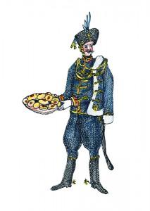 Der Husar: ein Angehöriger der leichten Reiterei in ungarischer Nationaltracht. Der Husarenkrapfen: eine kleine Köstlichkeit, die mit Hagebuttenmarmelade gefüllt besonders gut schmeckt. (Illustration: Stefania Peter)