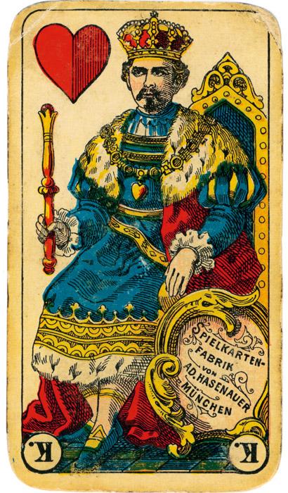 """König Ludwig II. als """"Maxi"""" auf einer historischen Spielkarte um 1900 (Abbildungen: Sammlung Manfred Hausler)"""