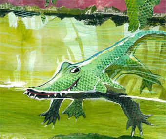 Auch ihm begegnet Paula in einem ihrer Abenteuer: dem Krokodil im Urwaldhaus von Hellabrunn.