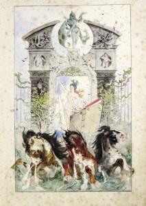 """Drei """"wilde Seepferdchen"""" ziehen die Künstlerchronik der Fraueninsel. Bild von Eugen Horstig, Chroniken 1878 (Foto: Thomas Groß, Archiv Gemeinde Chiemsee)."""