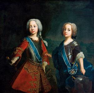 Die Kurprinzen Maximilian Joseph (links) und Joseph Ludwig als machtbewusste kleine Feldherren.