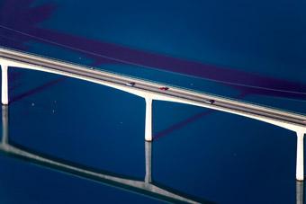 Luftaufnahme von der Brücke der Bundesstraße 17 über den Schongauer Lechsee