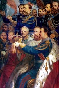 König Ludwig II. trägt König Wilhelm I. von Preußen in dieser fiktiven Szene die Kaiserkrone an.