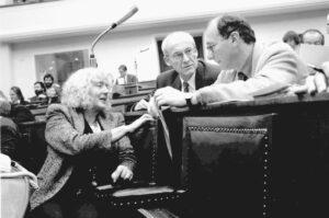 Renate Schmidt, Max von Heckel und Franz Maget im Plenarsaal des Bayerischen Landtags (1997)