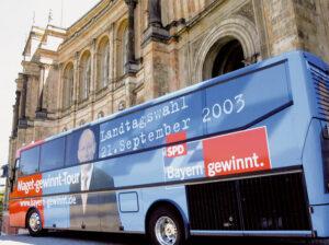 Ungezählt die Kilometer, die der Spitzenkandidat Franz Maget mit seinem Wahlkampfbus zurücklegte.