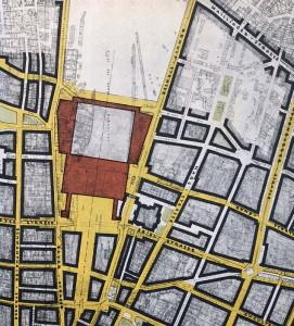 Meitingers Plan vom neuen Hauptbahnhof und der Umgebung. Anstelle der ehemaligen (und jetzigen) Bahnhofsgebäude sollte ein repräsentativer Platz und eine von Geschäftsgebäuden flankierte breite Zufahrtsstraße entstehen.