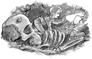 Gruselig, aber ganz schön spannend: Norwin findet in einer Höhle ein geheimnisvolles Ei. (Illustrationen: Daniel Stieglitz)