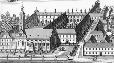 Das Kloster der Paulaner in der Au. Hier lebte und wirkte einst Bruder Barnabas. Kupferstich von Michael Wening (Ausschnitt), 1702.