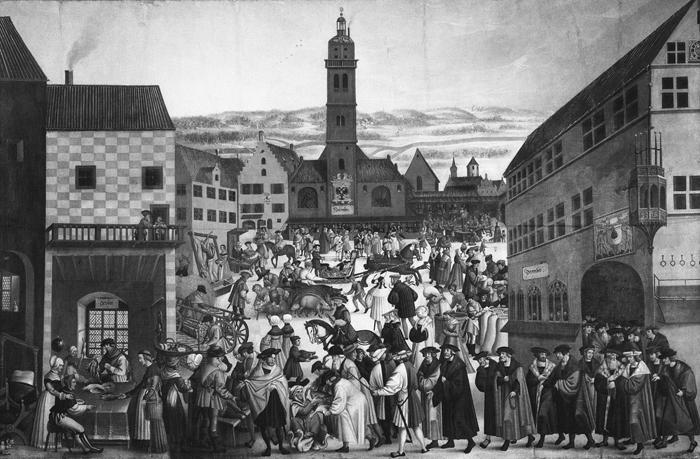 Augsburg, Perlachplatz / H.Vogtherr - - Augsbourg, place du marché / D'ap. J.Breu