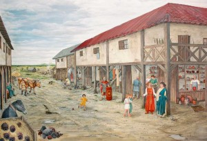 """Pocking, """"Rekonstruierter"""" Vicus in der Dauerausstellung """"Drehscheibe Pocking"""", Gemälde von Brigitte Quast"""