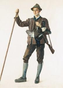 Der heutige Chef des Hauses Wittelsbach, Herzog Franz von Bayern, Urenkel des letzten bayerischen Königs, wurde um 1954 von Theo Baumgartner in Jagdpose gemalt.