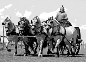 """Damals wie heute: Im römisch geprägten Sprachraum treibt man ein Pferdegespann mit """"Wia!"""" vom lateinischen via für Straße oder vorwärts, los an."""