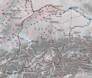 Die Provinz Raetien und das Netz der Hauptstraßen um 180 n. Chr.