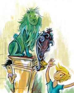 Paula und Luca entdecken die glücksbringenden Löwen, die die Residenz bewachen.