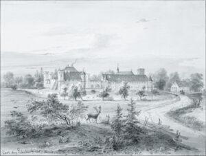Ansicht des Schlosses Blutenburg. Wandmalerei von Hans Donauer d. Ä. im Antiquarium der Münchner Residenz, um 1590