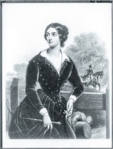 """Maria Dolores Gilbert alias Lola Montez wurde aufgrund ihrer wehrhaften Peitschenhiebe als """"Frau mit der Peitsche"""" bekannt. Lithografie eines unbekannten Künstlers von 1846."""