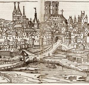 Der Holzschnitt von Michael Wolgemuth aus der Schedel'schen Weltchronik (hier ein Ausschnitt) von 1493 ist die älteste bekannte Ansicht von München und zeigt den Blick auf die mittelalterliche Stadt von Osten. (Bild: Münchner Stadtmuseum)