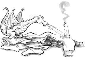 Süß, aber gefährlich: Der Drache Schoko speit nach dem Genuss von Schokolade Feuer.