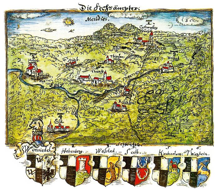 """Der Ort Selb in einer Handzeichnung des """"Sechsämterlandes"""" aus der sogenannten Selber Chronik des Diakons Magister Paul Reinel von 1560. Das Sechsämterland entspricht heute in etwa dem heutigen Landkreis Wunsiedel. (Foto: Stadtarchiv Wunsiedel/Peter Seißer)"""