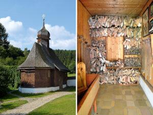 In einem Nebenraum der Einsiedelei-Kapelle finden sich zahlreiche Votivgaben in Form von aus Holz geschnitzten Händen, Füßen und Beinen. (Fotos: Werner Schäfer)