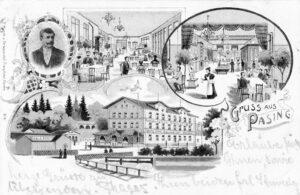 Das Steinerbad auf einer Postkarte aus dem Jahr 1901 – für die Werbung ein bisschen größer und ein bisschen eleganter als in der Realität.