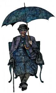 Tante Mari mit Schirm