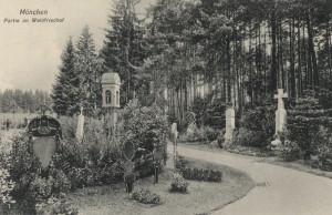 Ansicht eines Grabfeldes auf dem Waldfriedhof, Aufnahme von 1915