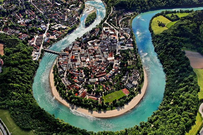 Luftaufnahme von Wasserburg am Inn