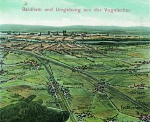 Die Bahnlinie vom Ostbahnhof über Berg am Laim nach Rosenheim; kolorierte Bildpostkarte