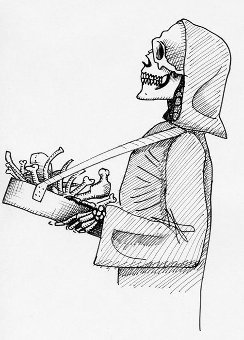 Die Beziehung des Bayern zum Tod ist im Normalfall eine pragmatische. Dazu passt der personifizierte Sensenmann als Boandlkramer, also  Knochenhändler – auch wenn er sicherlich eher selten mit Bauchladen anzutreffen ist. (Illustrationen: Matthias Gwinner)