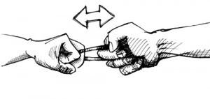 Das Fingerhackln ist ein klassisch bayerischer Wettkampf, bei dem sich die beiden Kontrahenten an einem (Wirtshaus-) Tisch gegenübersitzen, ihre Mittelfinger ineinander bzw. mithilfe eines kurzen Lederriemens miteinander verhaken und versuchen, den Gegner mit Einsatz von Kraft und Technik über den Tisch zu ziehen.
