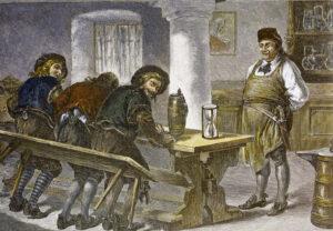 So prüfte man früher die Bierqualität: Bierprobe mit dem Hosenboden. Aquarell von Joseph Puschkin, 19. Jh. (Foto: Paulaner-Salvator-Thomasbräu))